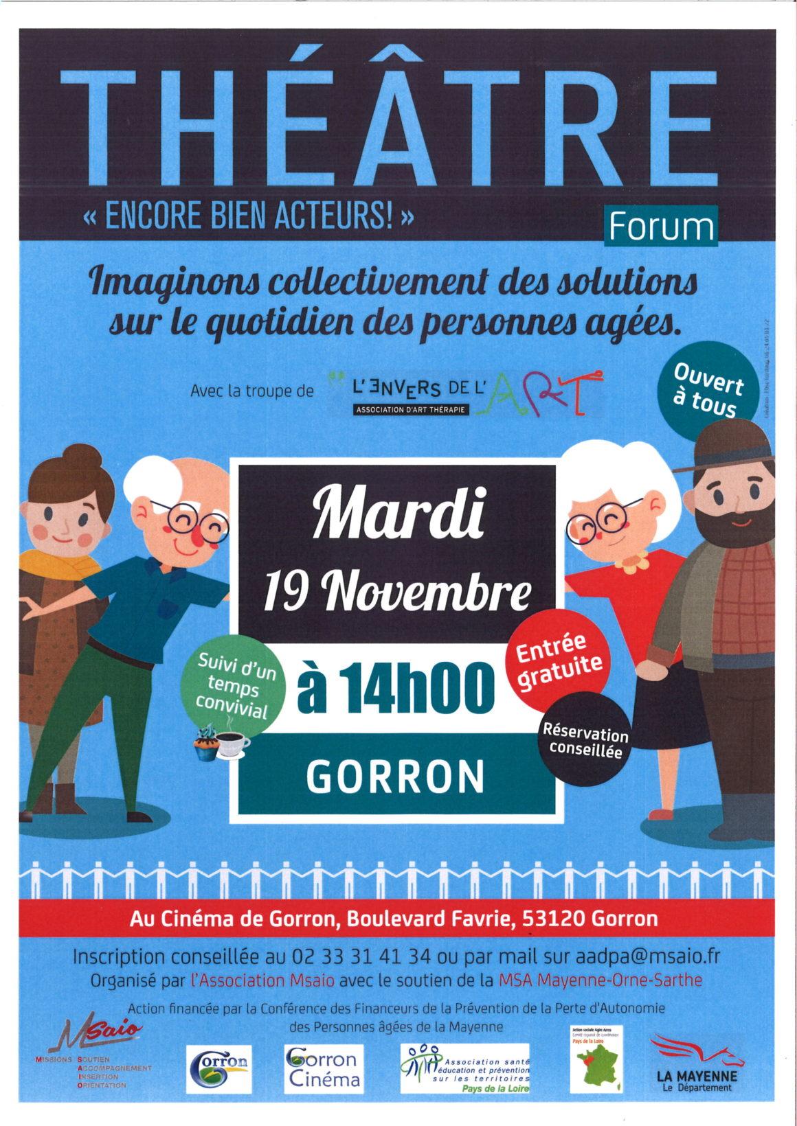Théâtre forum à GORRON / 19 novembre 2019 – 14 heures