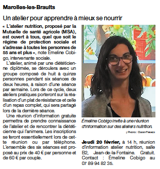 Article Ouest France – Atelier nutrition